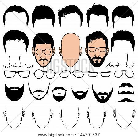 Design constructor with man head vector silhouette shapes of haircuts, glasses, beards, mustaches. Haircut for fashion gentleman illustration
