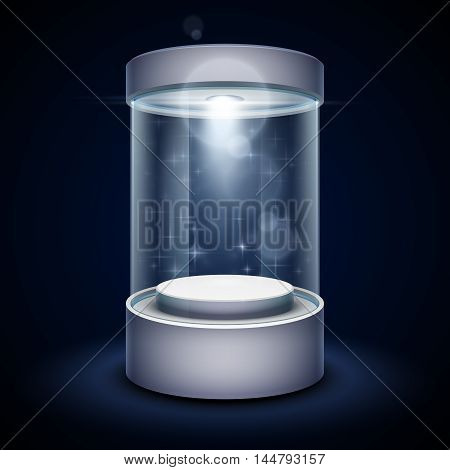 Transparent glass museum showcase podium with spotlight and sparks. Mock up capsule box for exhibition. Vector illustration