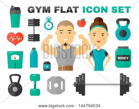 Gym Flat Icons Vector Art Set. male and female sport fitness coache character