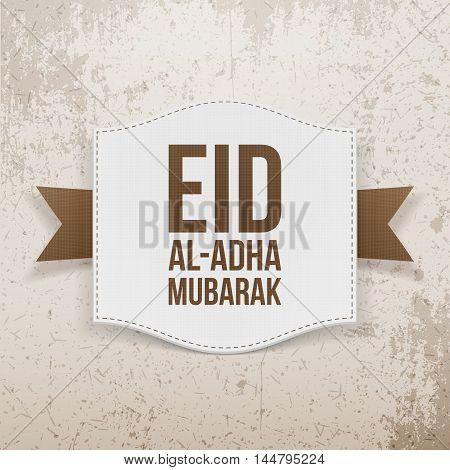 Islam paper Card with Eid al-Adha Text. Vector Illustration