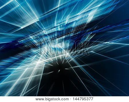 Abstract background element. Fractal graphics series. Three-dimensional composition of intersecting grids. Information technology concept. Blue and black colors.
