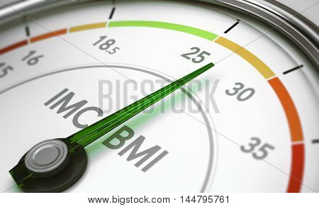 3D illustration of a BMI calculator dial with the needle pointine between 25 and 30. Concept of body mass index measurement.