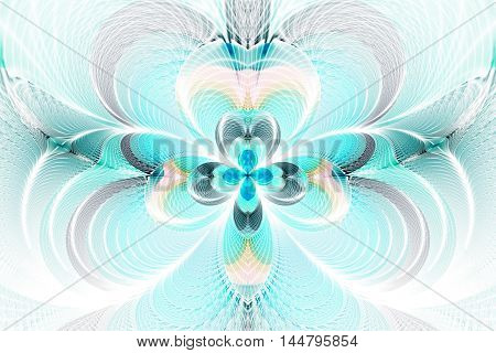 Abstract flower on white background. Intricate symmetrical pattern in blue and grey colors. Fantasy fractal design for posters wallpapers or t-shirts. Digital art. 3D rendering.
