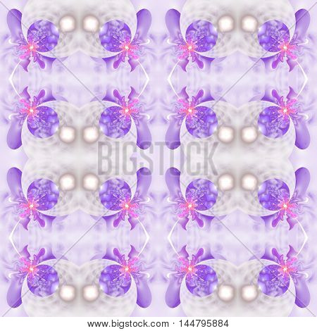 Abstract seamless flower pattern on white background. Symmetric ornament in pink and purple colors. Fantasy fractal design for postcards wallpapers or clothes. Digital art. 3D rendering.