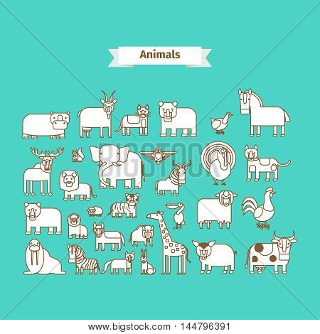Animals Line Art Vector white Icons on blue background
