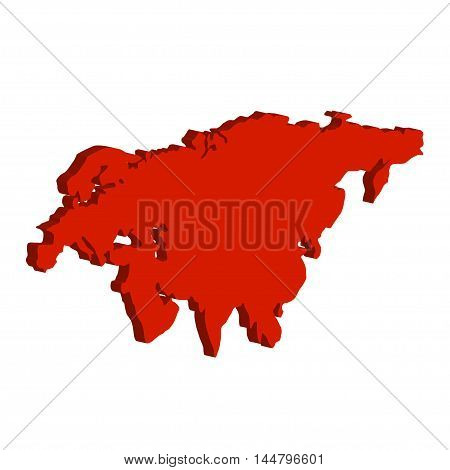 Eurasia Continent. Bulk illustration of red color on a white background
