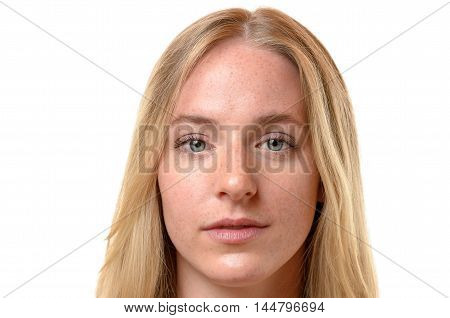Face Of An Attractive Serious Blond Woman