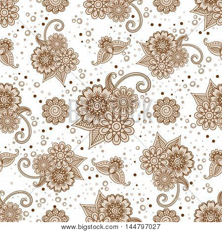 Henna elements with dots and flowers seamless pattern. Vector illustration