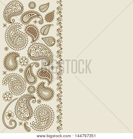 Paisley leaf henna elements greeting card. Vector illustration