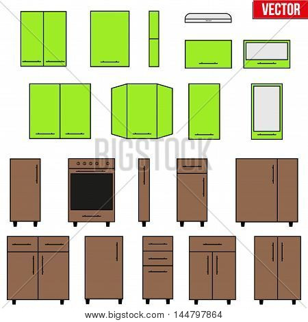 Set of typical objects for modular kitchens in two color. Flat style elements for design interior configuration. Vector Illustration isolated on white background