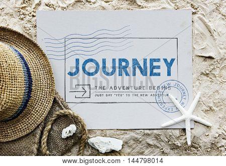 Journey Adventure Post Stamp Travel Concept