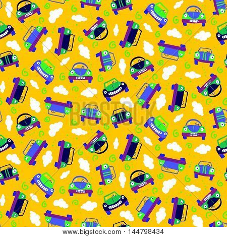 Seamless Patter With Cars. Can Be Used For Textile, Kids Clothes, Wallpaper, Wrapping Paper, Etc.