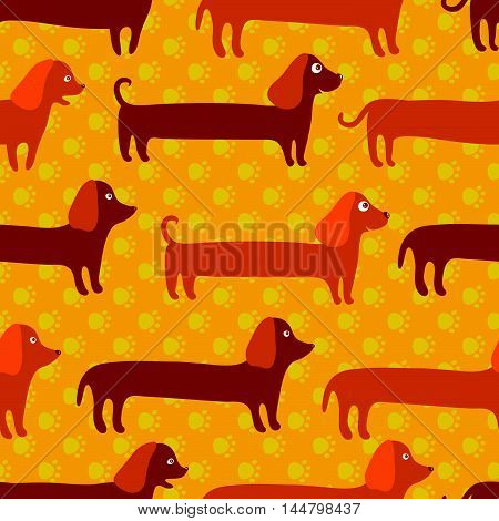 Seamless Pattern With Cute Badger-dogs