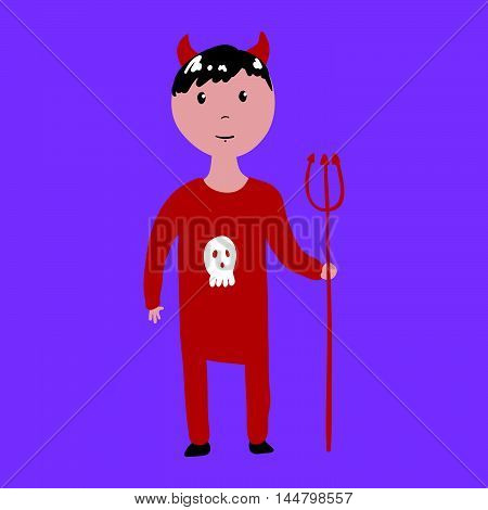 Boy In Devil Halloween Costume