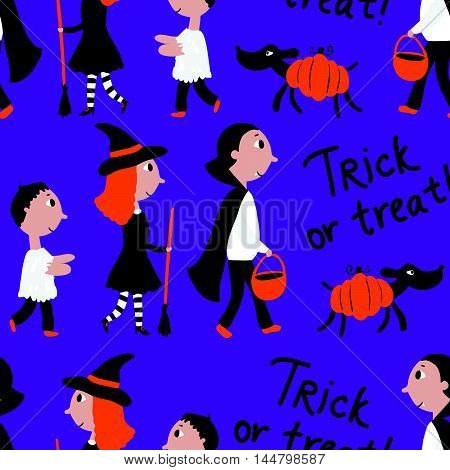Seamless Pattern With Kids At Halloween