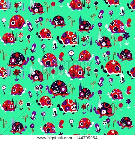 Seamless Pattern With Cute Different Turtles