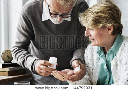 Husband Taked Care Wife Health Medical Concept