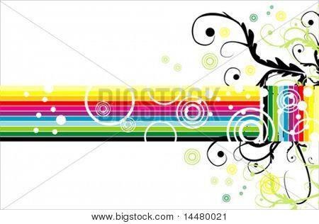 VECTOR retro style fantasy rainbow card