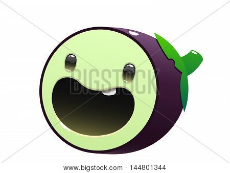 eggplant cartoon character bright juicy on a white background isolated