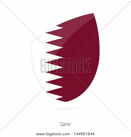 Flag of Qatar in the style of Rugby icon. Vector Illustration.