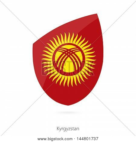 Flag of Kyrgyzstan in the style of Rugby icon. Vector Illustration.