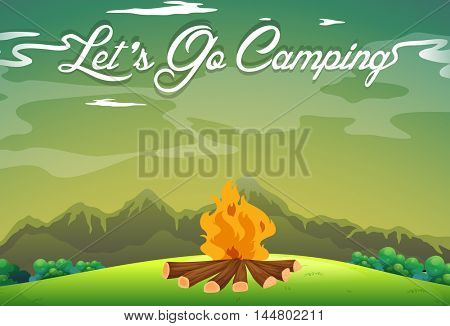 Camping ground with campfire in the field illustration