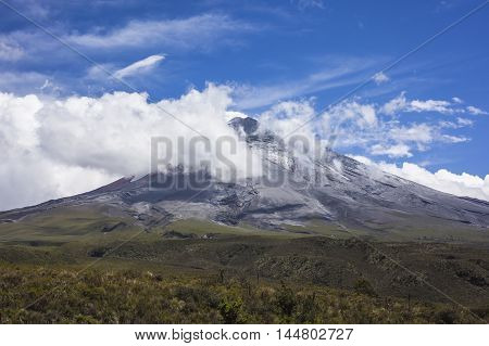 Cotopaxi National Park on the day of its reopening after the period of eruptions of the volcano