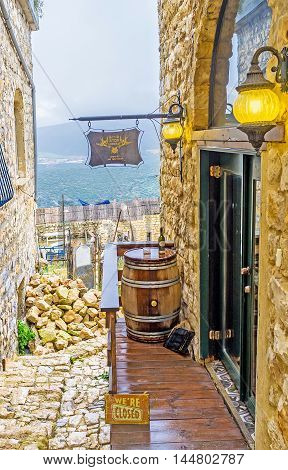SAFED ISRAEL - FEBRUARY 22 2016: The famous Safed's Abouhav Winery the best place to enjoy the local wine and relax on February 22 in Safed.