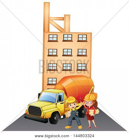 Two construction workers at site illustration