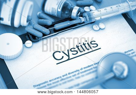 Cystitis - Medical Report with Composition of Medicaments - Pills, Injections and Syringe. 3D Render.