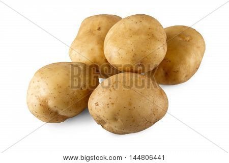 Stack of raw potatoes isolated on white background. Closeup image of ideal round potatoes vegetable group, healthy natural organic food