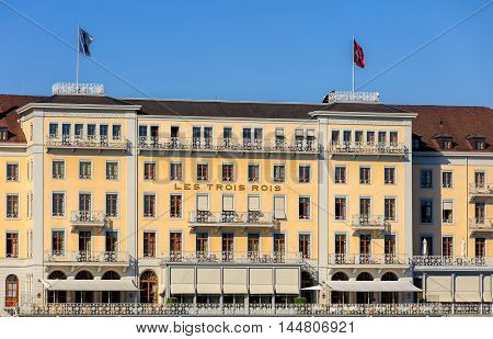 Basel, Switzerland - 27 August, 2016: Grand Hotel Les Trois Rois building facade. Grand Hotel Les Trois Rois (English: Hotel of the Three Kings) is a luxurious 5-star hotel in the Swiss city of Basel.
