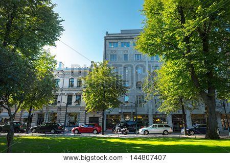 Green street in the city of Helsinki, Finland