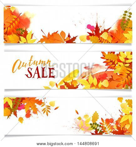 Three banners with colorful autumn leaves