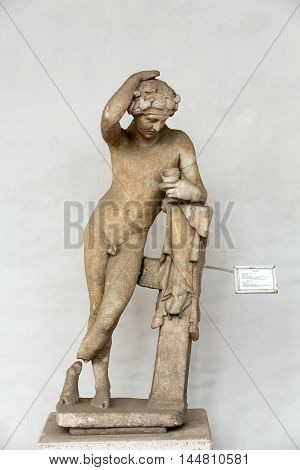 ROME, ITALY - JUNE 12, 2015: Ancient sculpture of the man in the baths of Diocletian (Thermae Diocletiani) in Rome. Italy