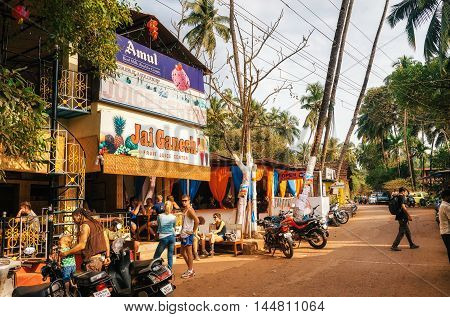 Chapora India - Dec 8: Juice Centre Jah Ganesh in Chapora. One of the most famous places of Goa. It makes a lot of fresh juices and informs visitors about upcoming parties. North Goa