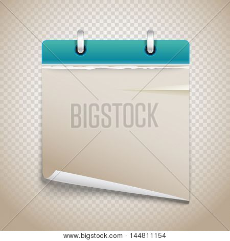 Vintage paper diary with bended corner on transparent background. Template for a text