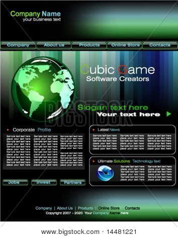 VECTOR Delicate Business web site template with blue and green design elements