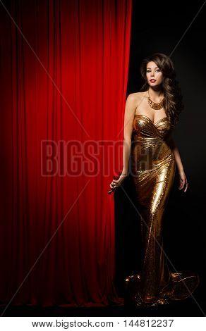 Fashion Model Girl Opening Curtain Stage Elegant Woman Gold Dress