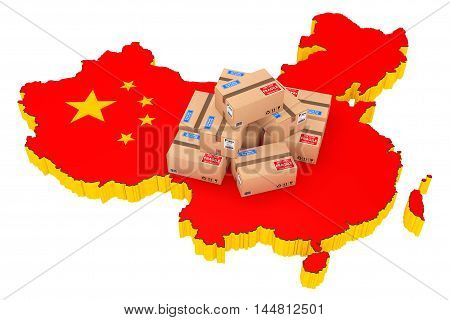 Online Shopping in China Concept. Parcels over China Map on a white background. 3d Rendering