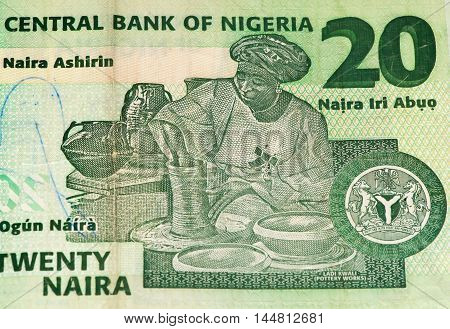 20 Nigerian naira bank note. Nigerian naira is the main currency of Nigeria