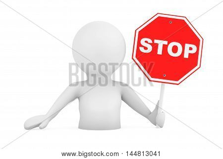 3d Person Falling in Problems with Stop Sign on a white background. 3d Rendering