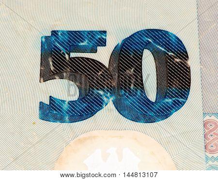 50 Nigerian naira bank note. Nigerian naira is the main currency of Nigeria