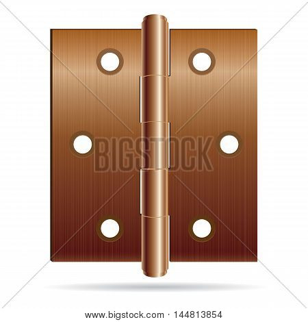 Bronze color hinges with steel texture isolated on white background. Hinges design.