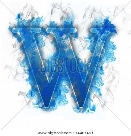 Burning Letter with blue icy flames effect