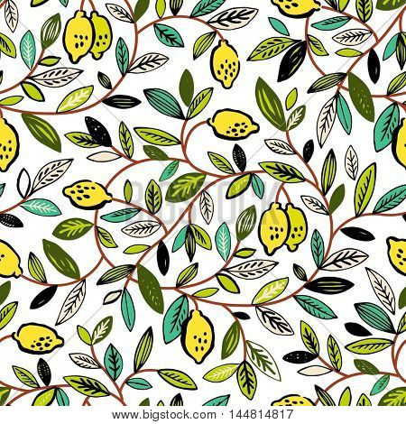 Seamless vector pattern with lemon tree