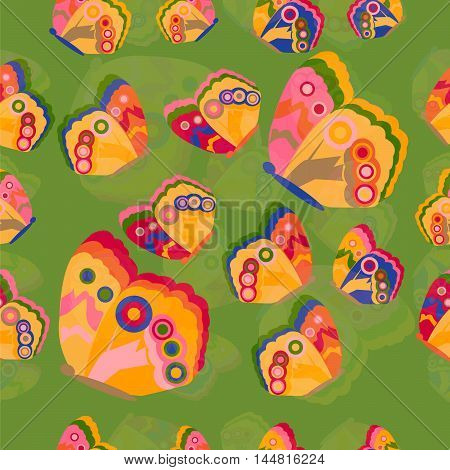 Bright and colorful butterflies seamless pattern with green background