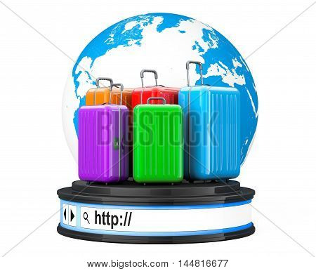 Earth Globe with Suitacases over Browser Address Bar as Round Platform Pedestal on a white background. 3d Rendering