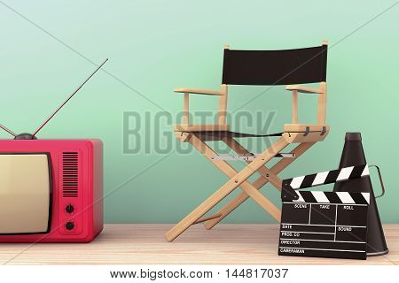 Old Style Photo. Director Chair Movie Clapper and Megaphone with Classic Vintage TV on the wooden table. 3d Rendering