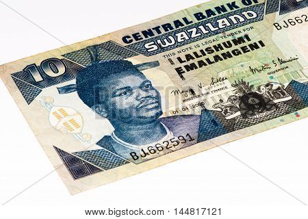 10 Swazi emalangeni bank note. Swazi emalangeni is the currency of Swaziland